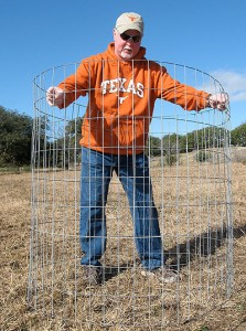 Exclusion cage in food plots for deer